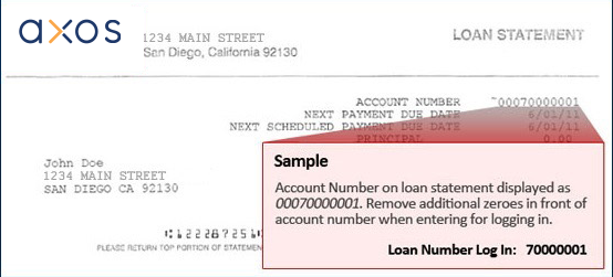 Image of account statement indicating location of loan account number